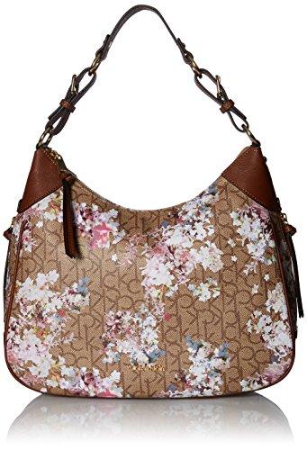 Calvin Klein Hudson Monogram Hobo, Text Khaki Brown/Luggage Floral