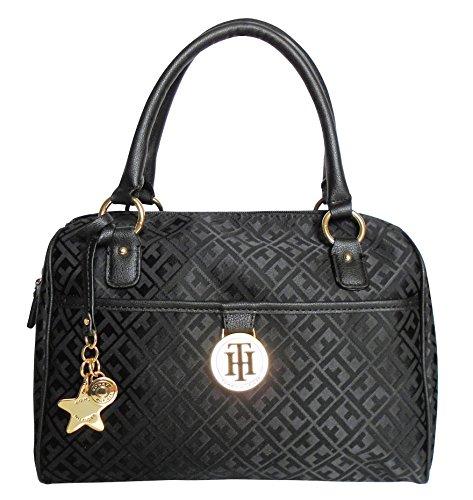 Tommy Hilfiger Logo Satchel Bag – Black