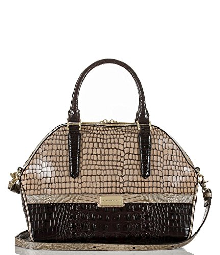NEW AUTHENTIC BRAHMIN EMBOSSED LEATHER CONVERTIBLE HUDSON SATCHEL TOTE (Camel Dynasty)