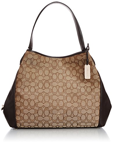 COACH Women's Signature Edie Shoulder Bag Light/Khaki/Brown Shoulder Bag