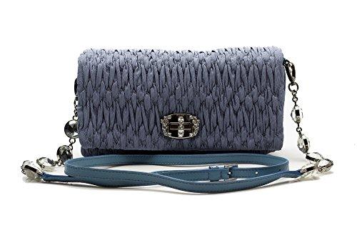 MIU MIU Women's Faille Fabric Calf Leather Crystal Clutch Handbag Purse Blue