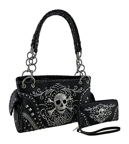 Rhinestone Skull Metallic Trim Concealed Carry Purse/Wallet Set Black