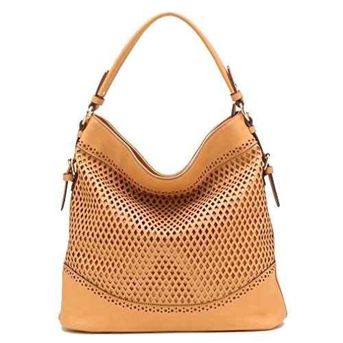 Tosca USA, Quality 3-Compartment Eyelet Hobo w/ Strap- Tan