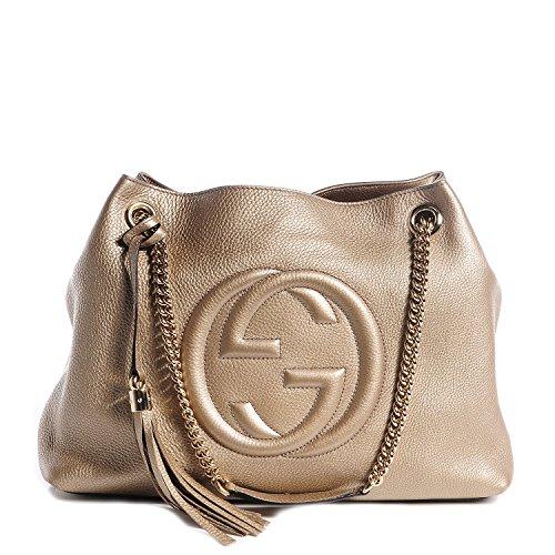 Gucci Soho Metallic Chain Medium Tote Golden Beige Leather New Bag