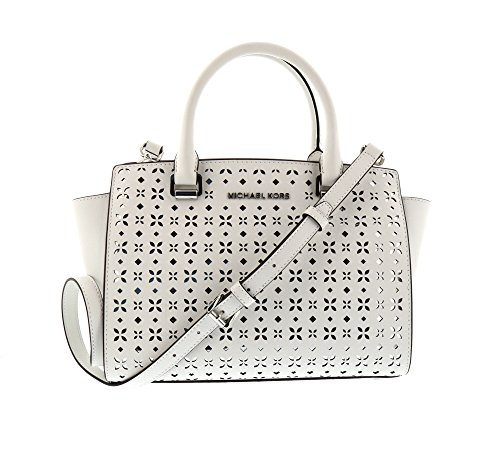 MICHAEL MICHAEL KORS Selma Medium Saffiano Leather Satchel (Medium, Perforated White)