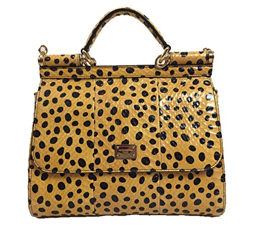 DOLCE & GABBANA Miss Sicily Yellow Polka Dot Snakeskin Leather Medium Bag Handbag Purse Tote