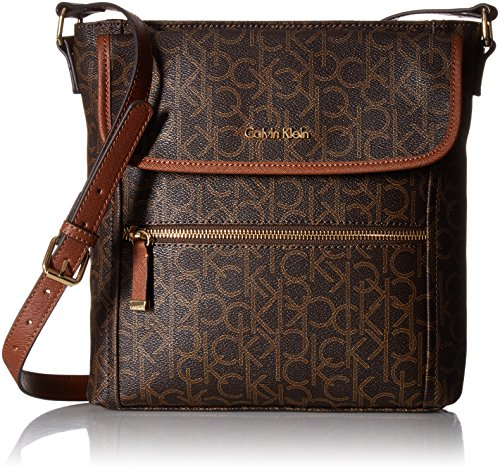 Calvin Klein Hudson Monogram Crossbody, Brown/Khaki/Luggage Saffiano