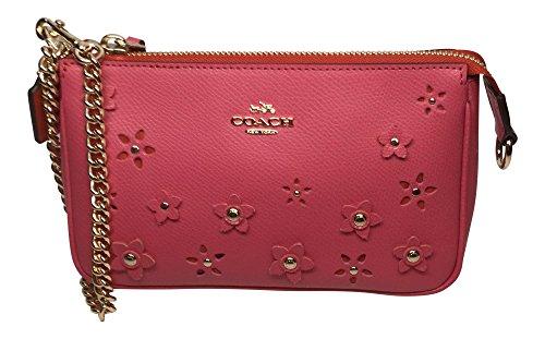 COACH Large Wristlet 19 In Floral Applique Leather Pink Clutch Purse 65471