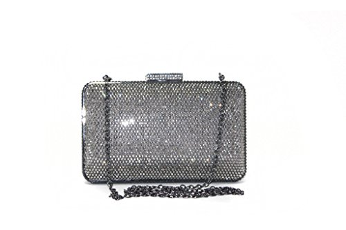 Emma Cate Womens Pewter Box Frame Bling Jewelled Clutch Bag