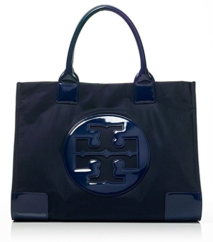 Tory Burch Ella Tote Nylon and Patent Handbag French Navy