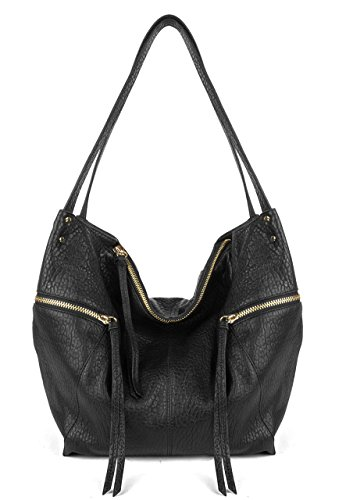 Kooba Elton Tobo Black Bubble Leather Tote Hobo Hybrid Shoulder Bag Purse