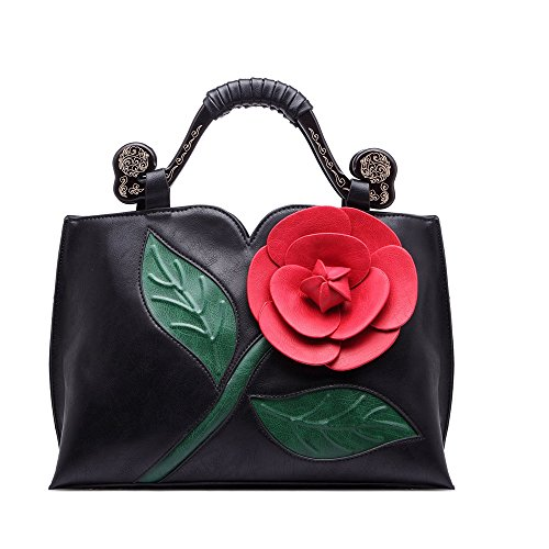 Women Handbag Clutch Purses Shoulder Bag Large Flower PU Leather with Wooden Handle Bags Black By Celsino