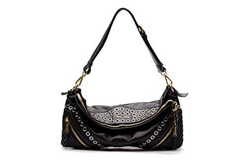 MIU MIU Women's Biker Nappa Leather Shoulder Bag Satchel Handbag Black