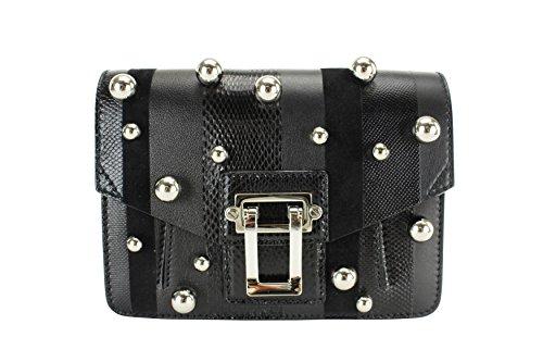 Proenza Schouler Womens Hava Exotic-Striped Clutch Handbag – Black Leather