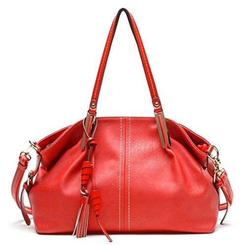 Tosca USA, Signature Draped Hobo Tote w/ Charms & Strap- Red