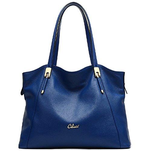 Cluci Leather Handbags Designer Tote Satchel Shoulder Bag Purse for Women Blue