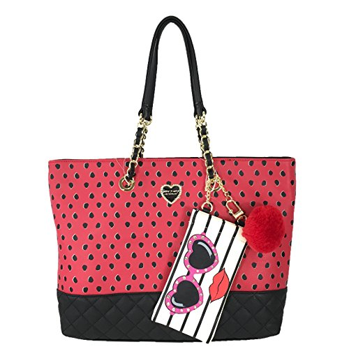 Betsey Johnson Spotted Large Tote & Sunnies Pouch, Red/Black