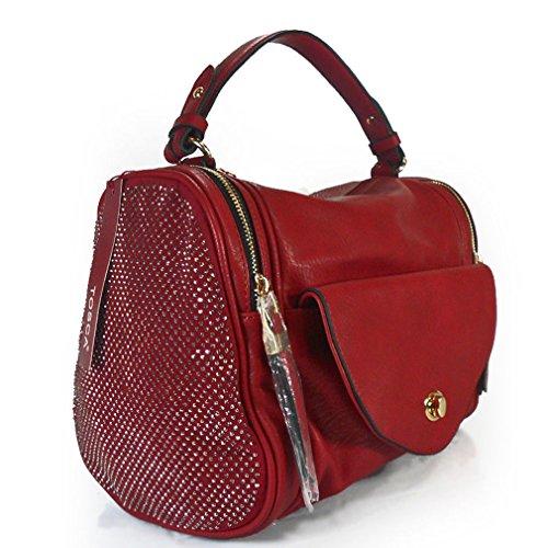 Tosca USA Multi Pocket Boston Bag w/ Crystal Sides -Dark Red