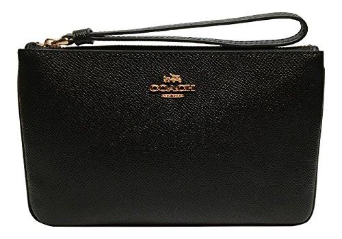 Coach Crossgrain Leather Large Wristlet Black F57465
