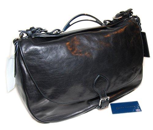 Ralph Lauren Collection Womens Proprietor Leather Handbag Purse Bag Italy Black