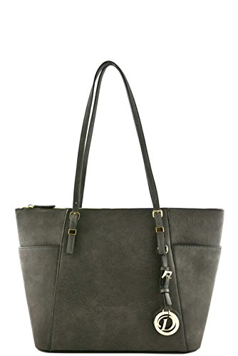 Women's Designer Faux Leather Tote Bag with Side Open Pockets VA2001 Grey