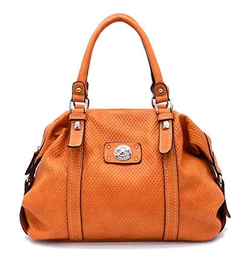 Tosca USA, Quality 2-Compartment Dome Satchel w/ Extra Strap- Orange
