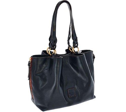 Dooney & Bourke Florentine Leather Large Zip Barlow Satchel – Black