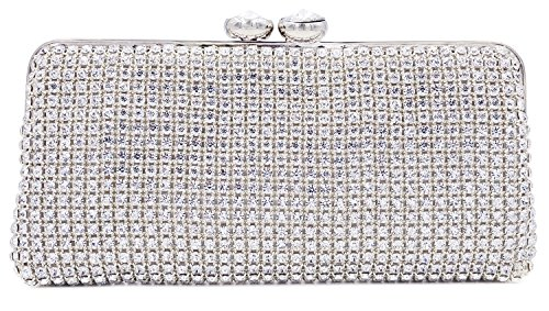 ILILAC Luxury Bling Bridal Clutch Purse with Diamond Clasp Lady Rhinestone Crystal Evening Bag for Party