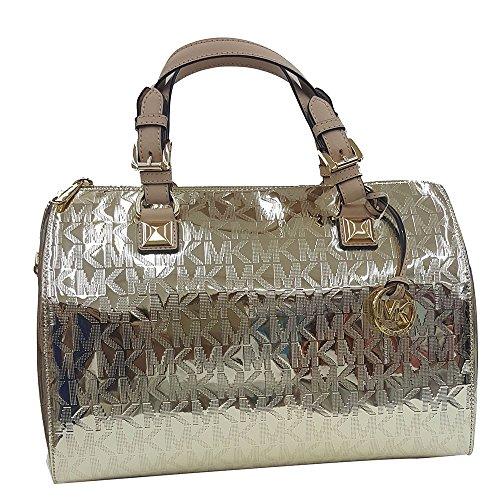 MICHAEL Michael Kors Womens Grayson Mirror Metallic Satchel Handbag Gold Large
