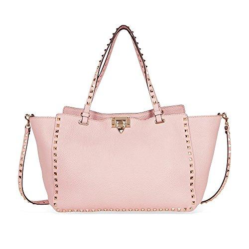 Valentino Rockstud Medium Pebbled Leather Tote Bag – Light Pink