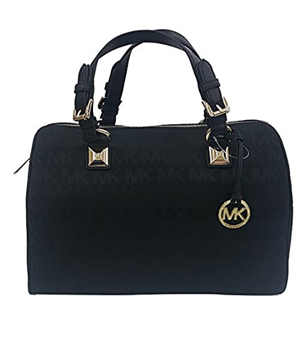 MICHAEL Michael Kors Womens Grayson Jacquard Satchel Handbag Black Large