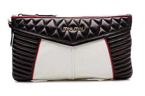 MIU MIU Women's Nappa Quilted Leather Clutch Handbag Black