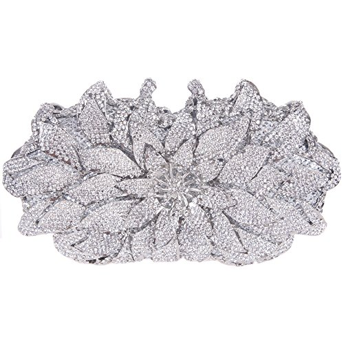 Fawziya Flower Purses With Rhinestones Crystal Evening Clutch Bags-Silver