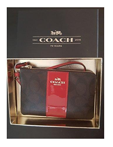 Coach Signature Leather True Red Corner Zip Wristlet In Gift Box