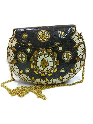 Indian Vintage style Handmade stylish Ethnic Metal Clutch cum Sling Bag ,Purse, Evening bag