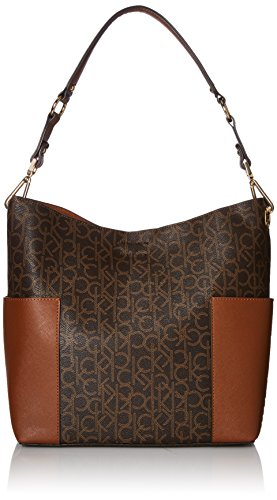 Calvin Klein Hudson Side Pocket Monogram Hobo, Brown/Khaki/Luggage Saffiano