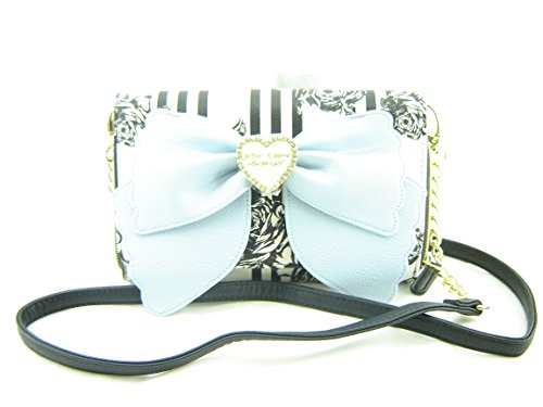 Betsey Johnson Small Crossbody Handbag Purse Black Light Blue