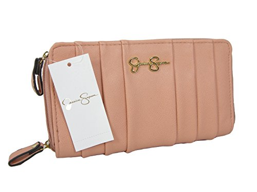 New Jessica Simpson Logo Double Zip Around Wallet Purse Hand Bag Peach Lindy