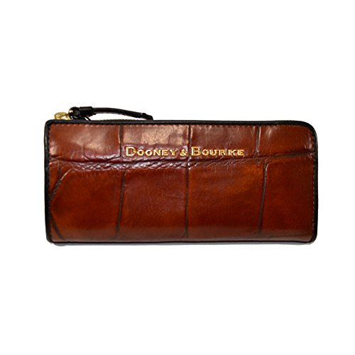 Dooney & Bourke Croco Emb Leather Zip Clutch Cognac / black YX155 HJ