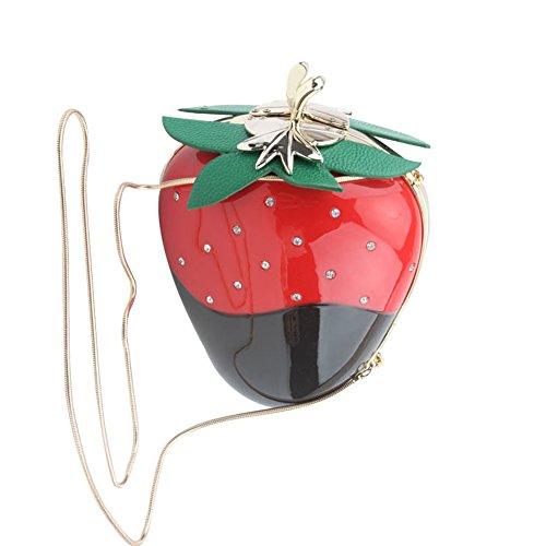 Women Acrylic Pink Strawberry Evening Bags Purses Clutch Vintage Banquet Handbag