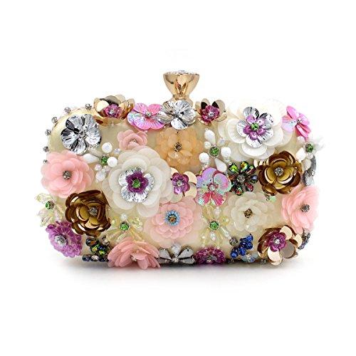 Flada Girl's Colored Flowers Rhinestone Clutch Handbag Evening Prom Party Purse Bags Gold
