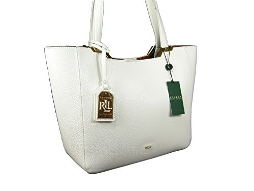 New Ralph Lauren Logo Purse Hand Bag Genuine White Leather Spring Summer Tote