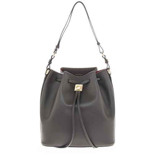 Salvatore Ferragamo Women's 'Sansy' Smooth Bucket Bag Dark Grey