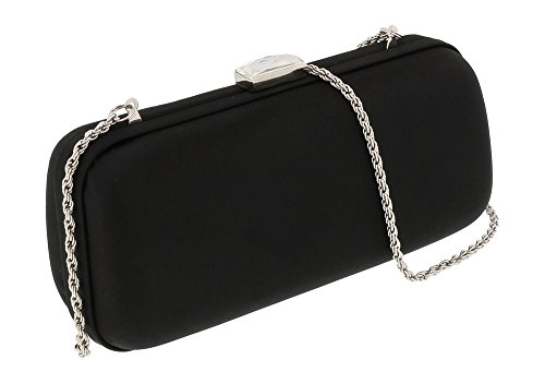Scheilan Black Satin Box Clutch