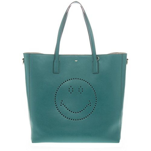 Anya Hindmarch Women's 'Smile' Ebury Flat-Handle Tote Bag Turquoise