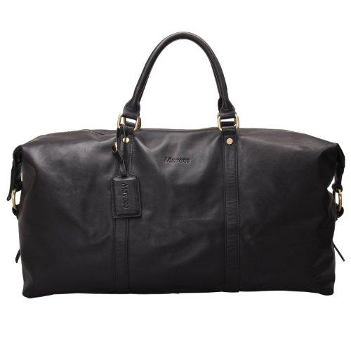 Mavees Leather Travel Bag Unisex Tote Crossbody Bags Oversized Bag Black 8075GB-L