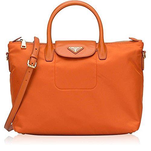 Prada Tessuto Saffiano Nylon Tote Shopping Shoulder Bag Papaya