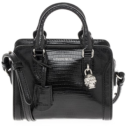 Alexander McQueen Small Lizard-Embossed Mini Padlock Satchel Bag Black