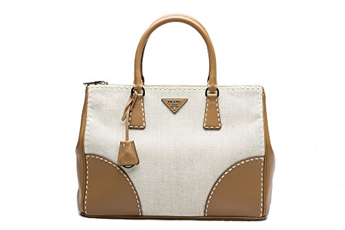 Prada Women's Canvas Leather City Shopping Handbag Satchel Caramel Beige