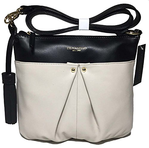 Tignanello Pretty Pleats Cross Body, Eggshell/Black T56410A
